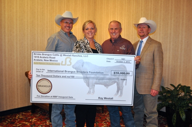 Ray Westall presented the IBBA with a check to initiate the funds for the Foundation. (L to R) Brandon Belt, Traci Middleton, Ray Westall and Dr. Tommy Perkins